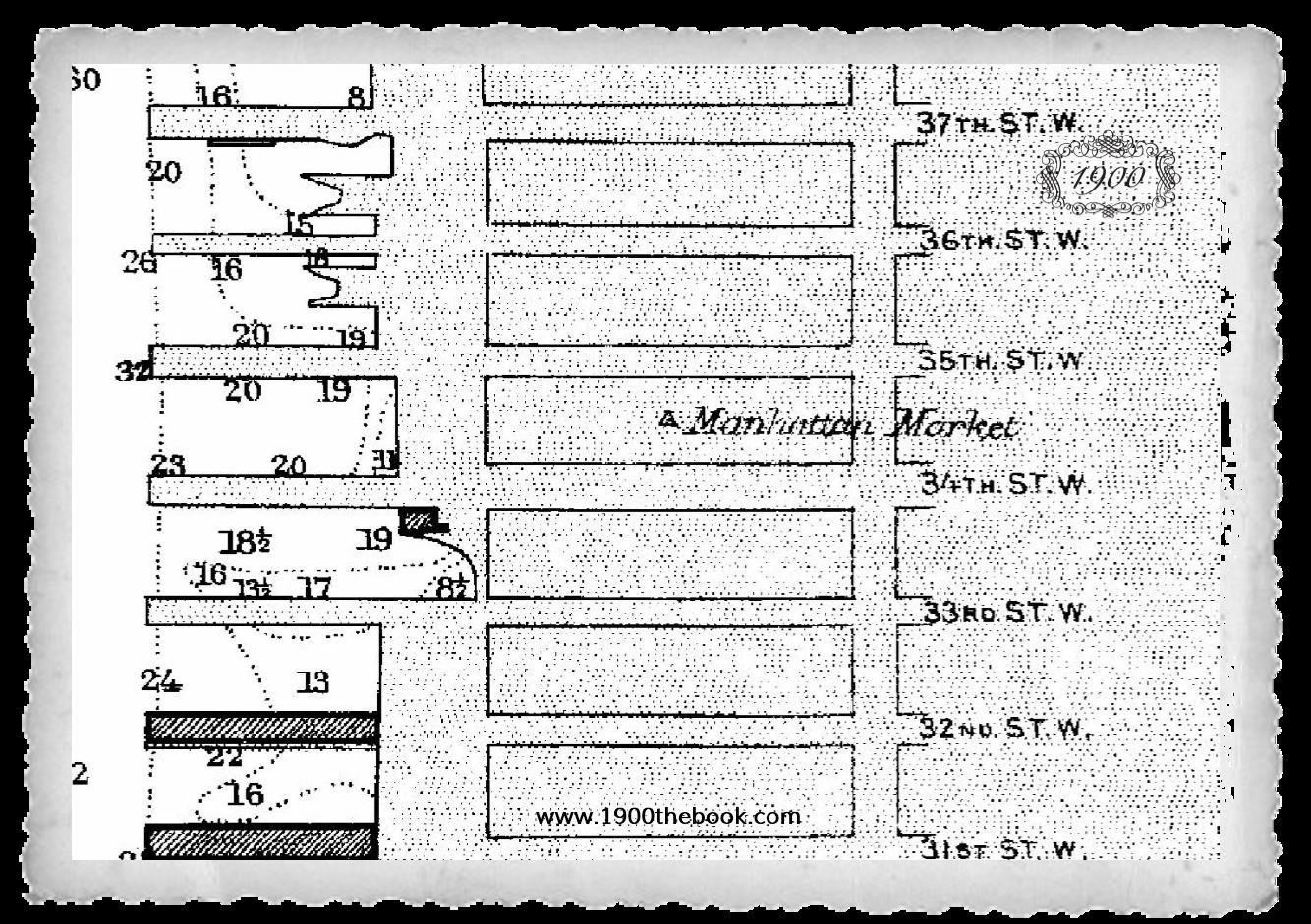 """Το """"ΜΙΑΟΥΛΗΣ"""" αγκυροβόλησε στην αποβάθρα που βρίσκεται μπροστά από τον 35ο δρόμο της Νέας Υόρκης. (Μέρος ιστορικου χάρτη Νέας Υόρκης 1900)"""